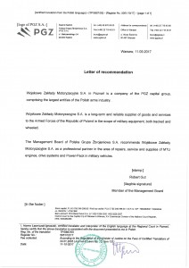 Rekomendacja Polskiej Grupy Zbrojeniowej